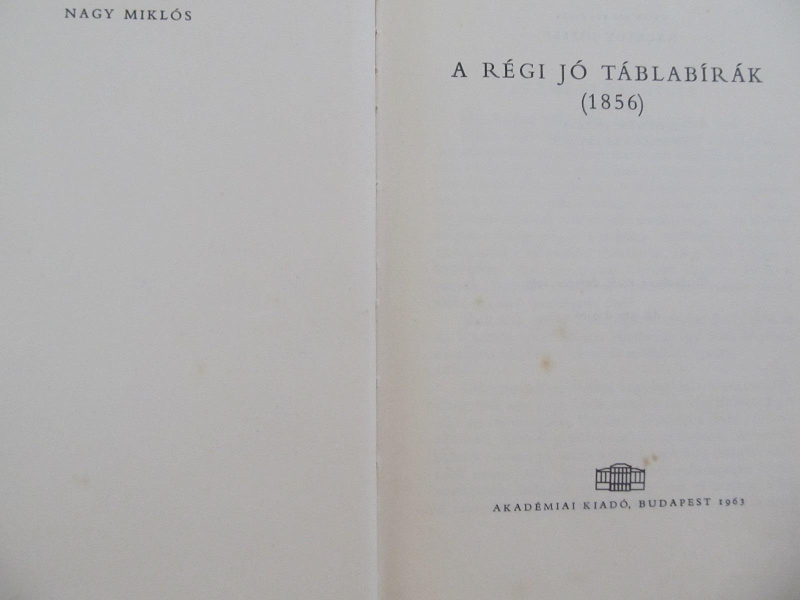 A regi jo tablabirak(1856) - Jokai Mor | Detalii carte