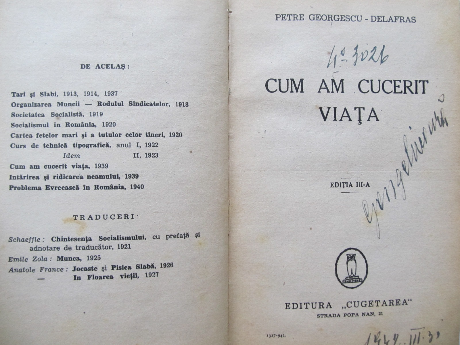 Cum am cucerit viata , 1942 - Petre Georgescu Delafras | Detalii carte