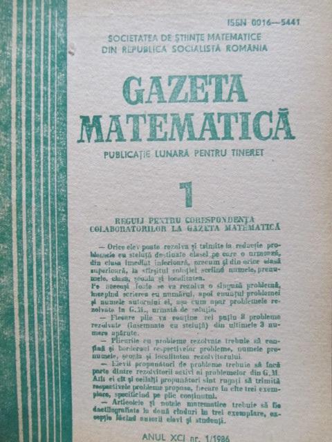 Gazeta matematica Nr. 1 / 1986 - *** | Detalii carte