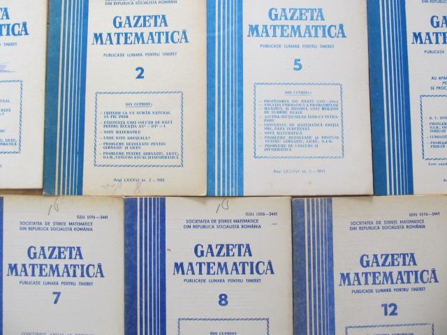Gazeta matematica Nr. 1 , 1 , 2 , 3 , 4 , 4 , 5 , 6 , 7 , 8 , 8 , 9 , 10 / 1974 (13 reviste) - *** | Detalii carte