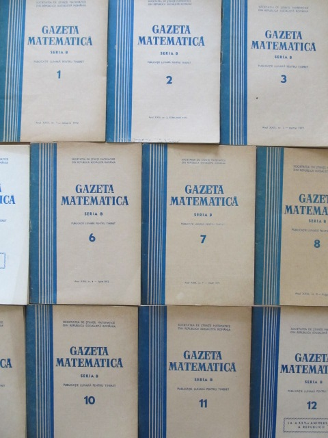 Gazeta matematica Nr. 1 , 2 , 3 , 5 , 6 , 7 , 8 , 9 , 10 , 11 , 12 / 1972 (11 reviste) - *** | Detalii carte