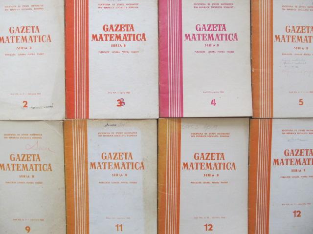 Gazeta matematica Nr.  2 , 3 , 4 , 5 ,  9 , 11 , 12 , 12 / 1968 (8 reviste) - *** | Detalii carte