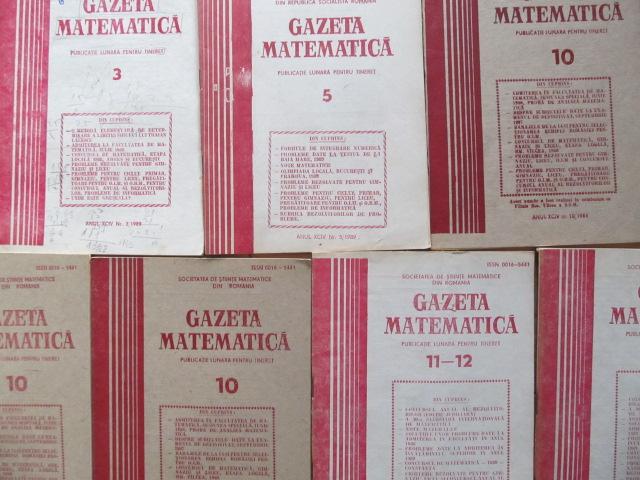 Gazeta matematica Nr. 3 , 5 , 10 , 10 , 10 , 11 - 12 , 11 - 12  / 1989 (7 reviste) - *** | Detalii carte