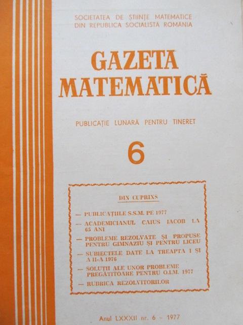 Gazeta matematica Nr. 6 / 1977 - *** | Detalii carte
