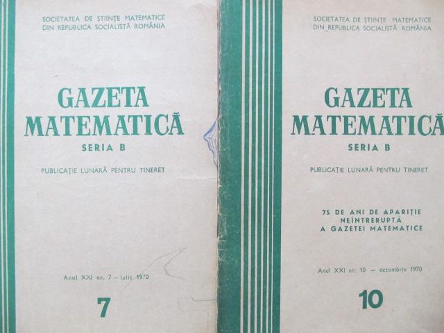 Gazeta matematica Nr.  7 , 10 / 1970 (2 reviste) - *** | Detalii carte