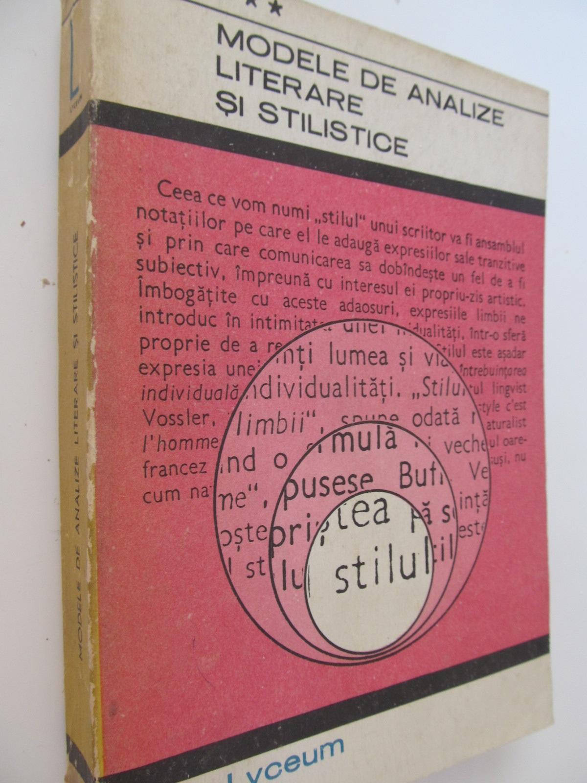 Modele de analize literare si stilistice (vol. 3) - *** | Detalii carte