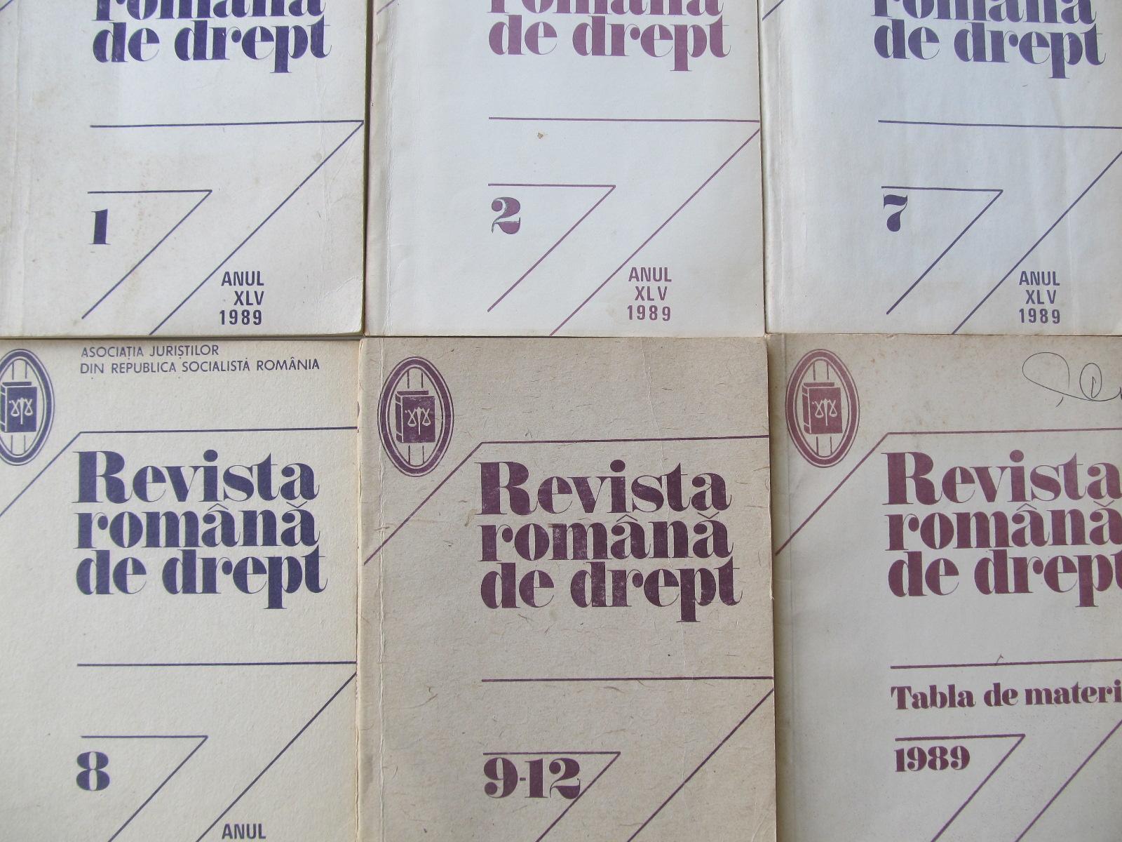 Revista romana de drept Nr. 1 , 2 , 7 , 8 , 9-12 , Tabla de materii / 1989 (6 reviste) - *** | Detalii carte