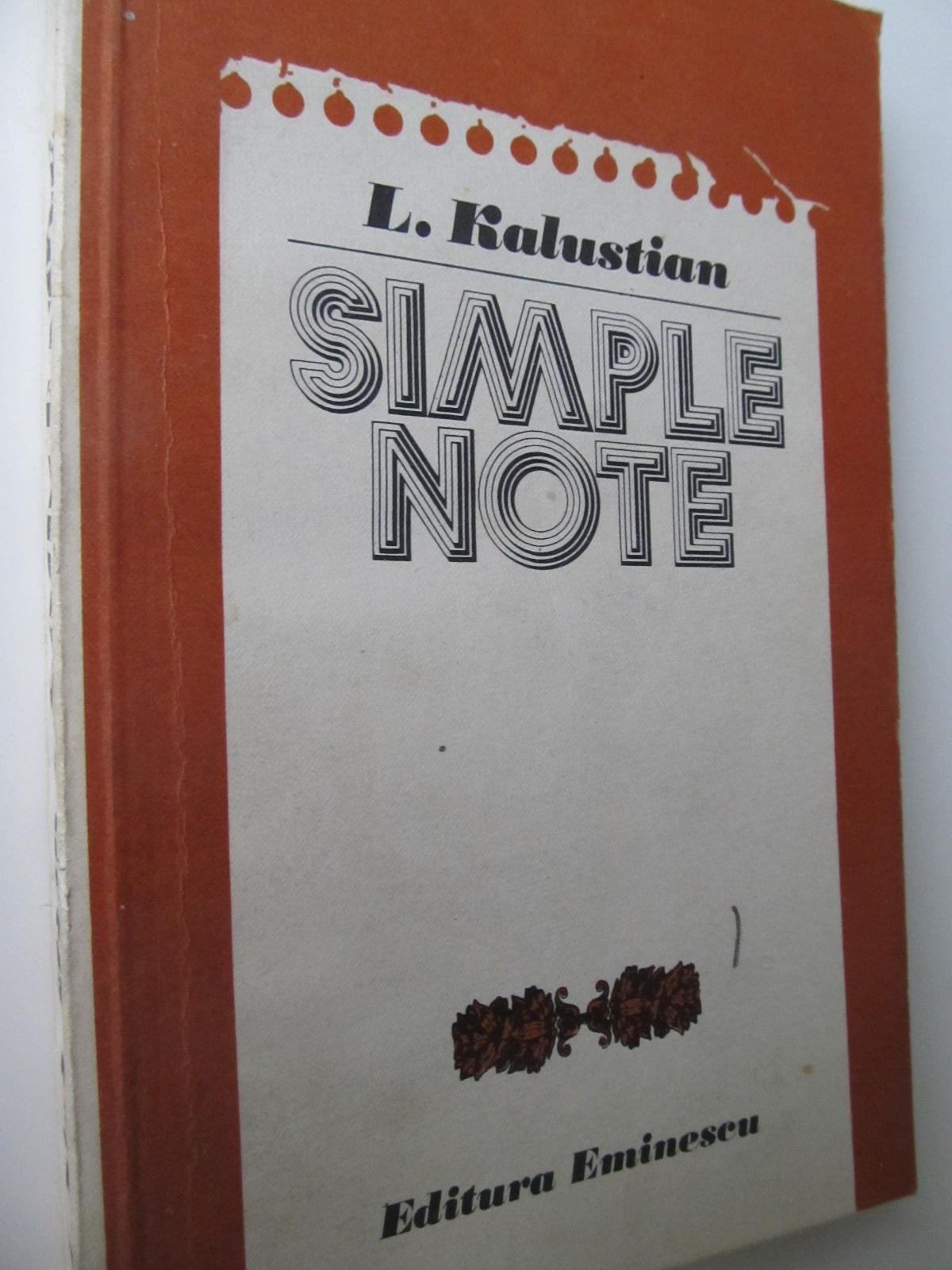 Simple note - L. Kalustian | Detalii carte