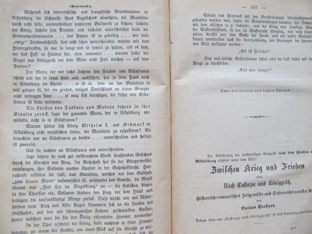 Carte 1866 oder Custozza und Koniggratz (3 vol.) - colegate , 1867 - ***