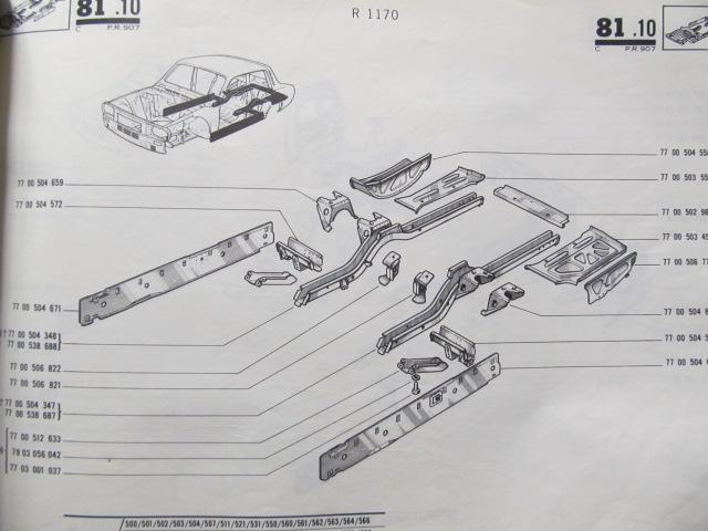 Carte Catalog piese de schimb Renault 12 , R1170 , R1171 , R1330 , 1970 - 1972 (Dacia 1300) - ***