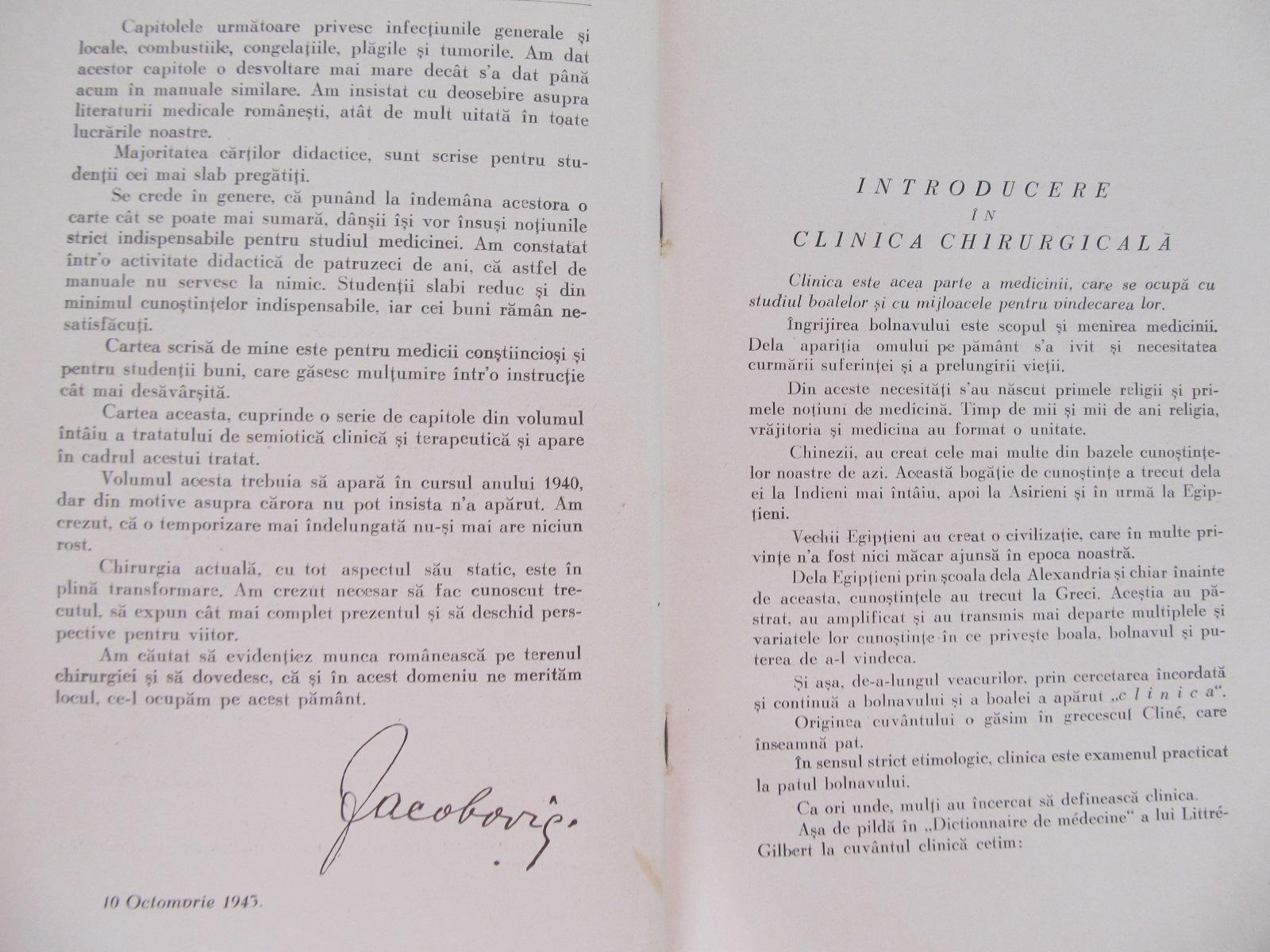 Carte Chirurgie (vol. I) - Clinica chirurgicala generala , 1943 - I. Iacobovici , Ion Porumbaru , Cornel Craciunescu