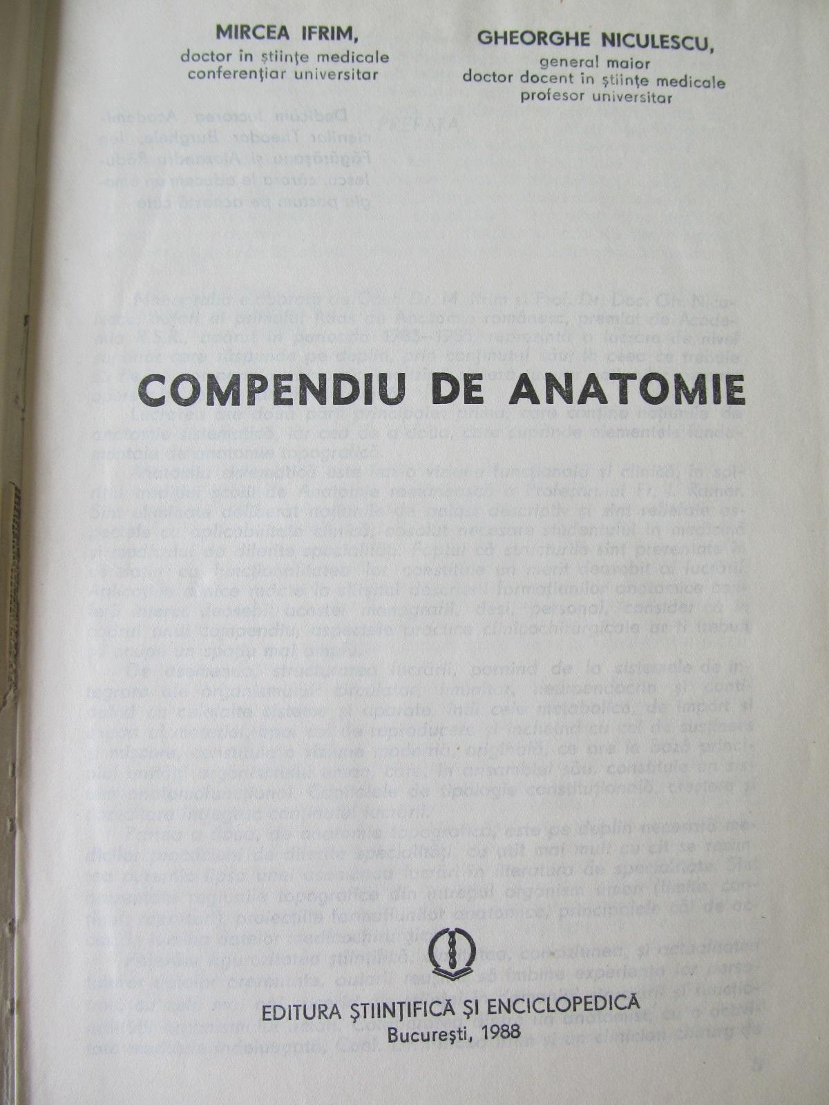 Carte Compendiu de anatomie - Mircea Ifrim , Gheorghe Niculescu