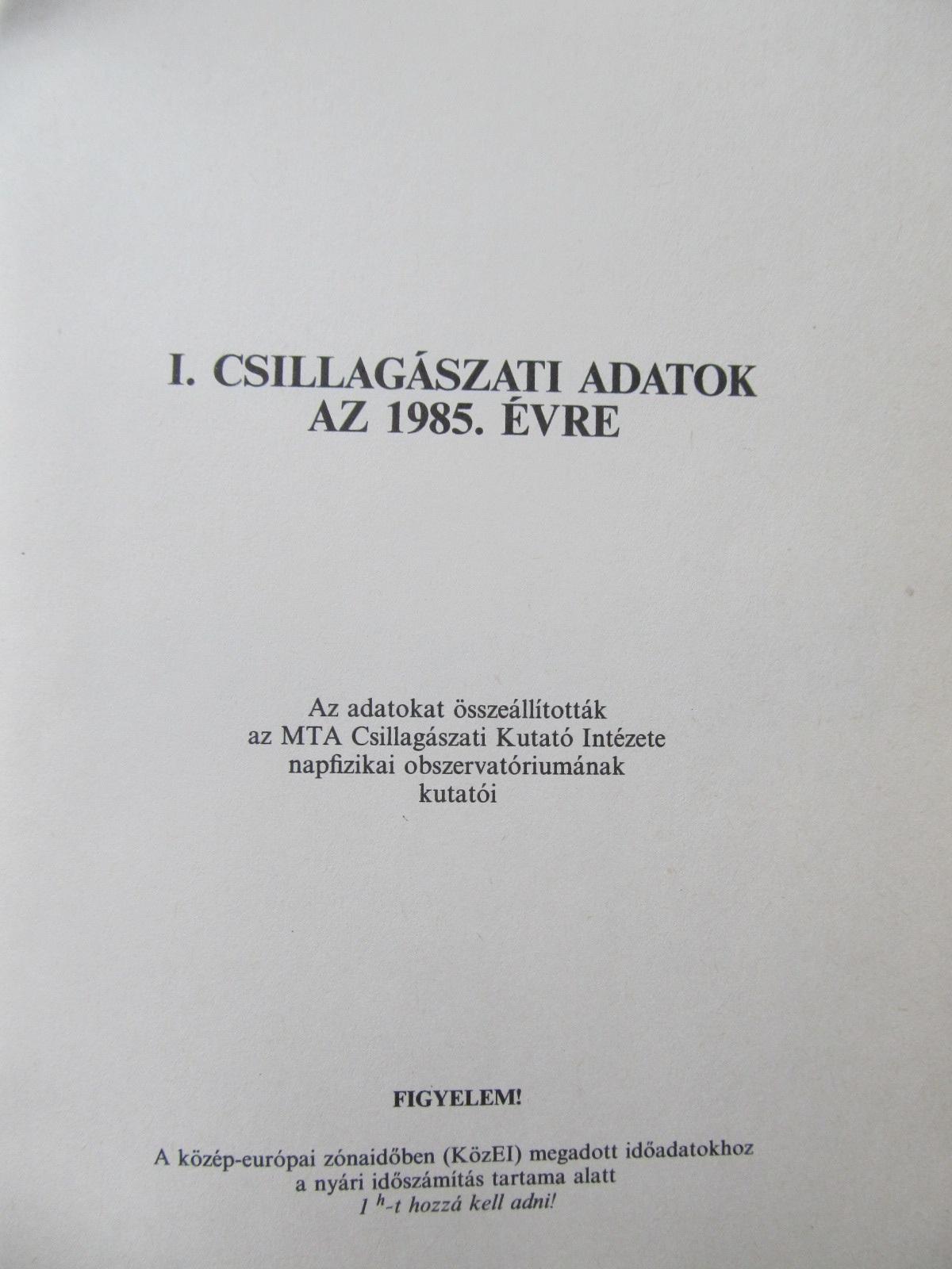 Carte Csillagaszati evkonyv 1986 - ***