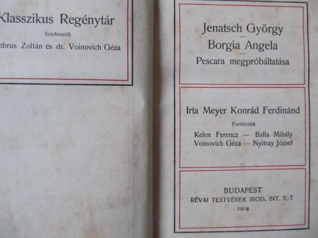 Carte Jenatsch Gyorgy - Borgia Angela - Pescara - Meyer Konrad Ferdinand