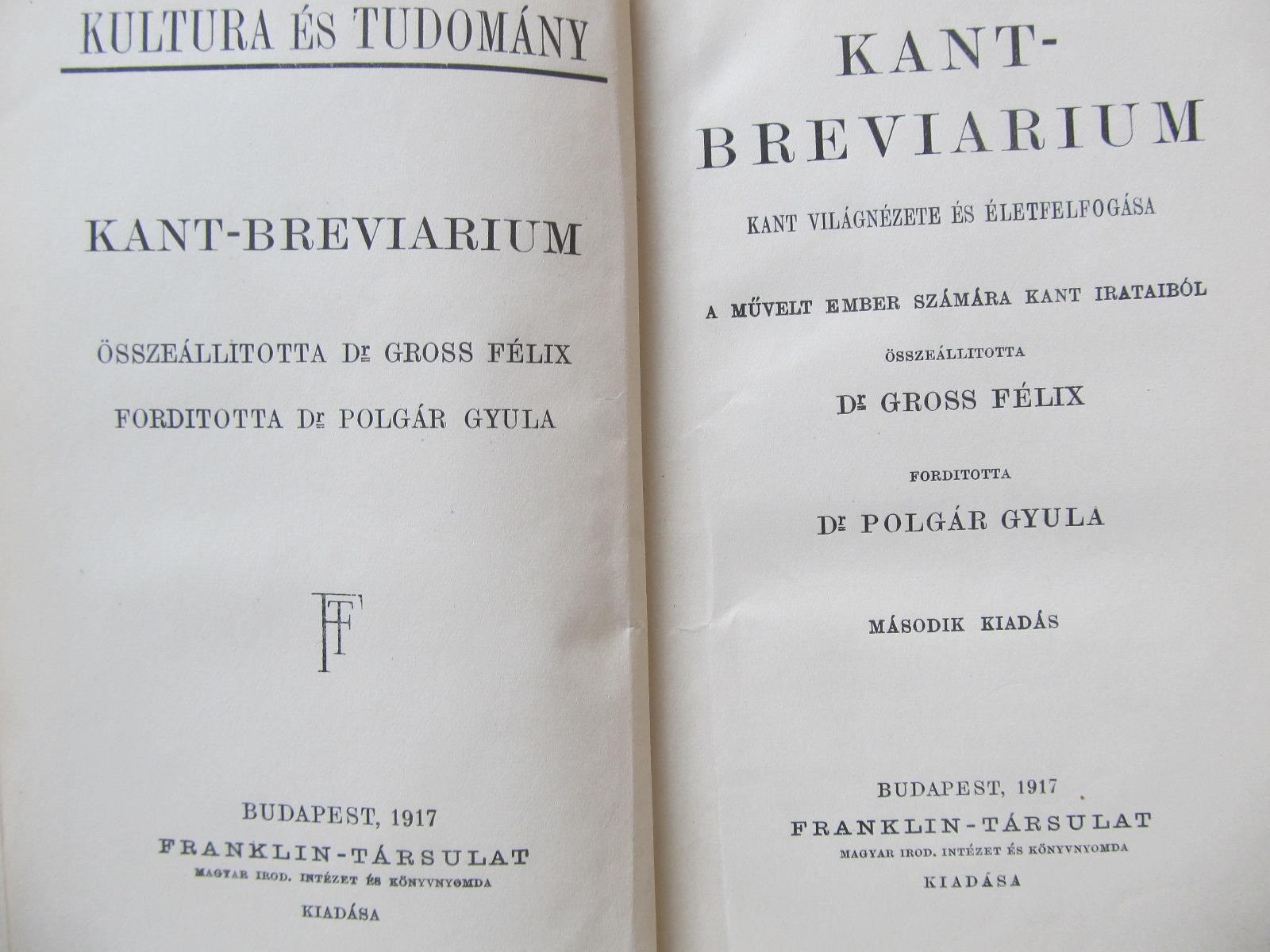 Carte Kant breviarium , 1917 - osszeallitotta Gross Felix