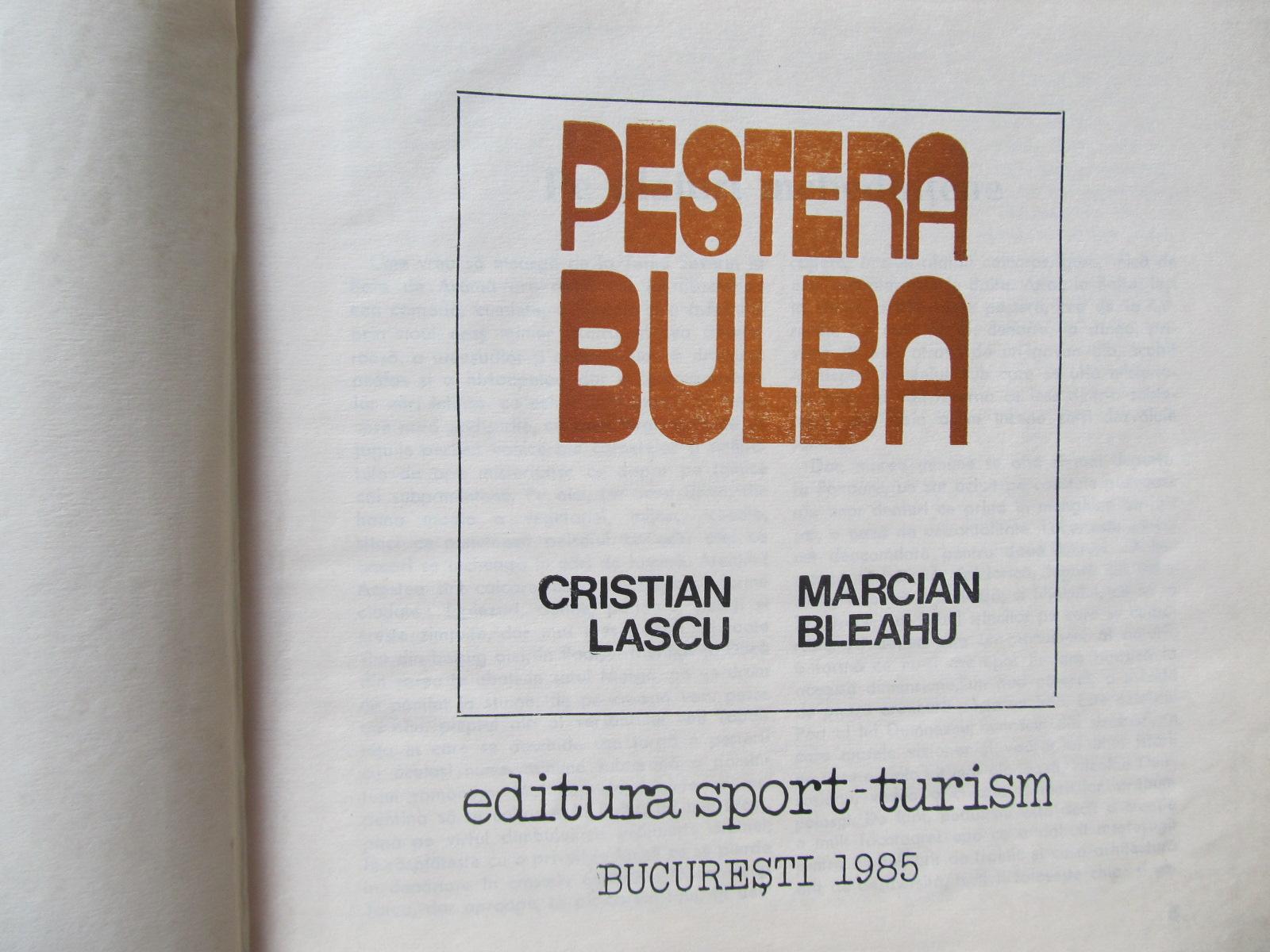 Carte Pestera Bulba (Album) - speologie - Cristian Lascu , Marcian Bleahu
