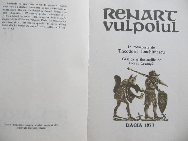 Carte Renart vulpoiul (ilustr. Florin Creanga) [1] - ***